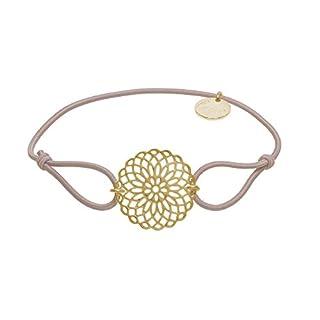 lua accessories - Armband Damen - Elastikband - größenverstellbar - hochwertig vergoldete Lebensblume - Sun gold (beige)