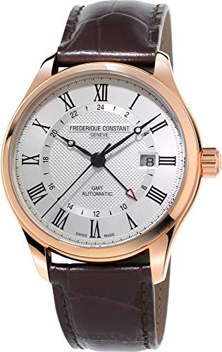 Frederique Constant Classics GMT Automatic Rose Gold Plated Mens Strap Watch Date FC-350MC5B4