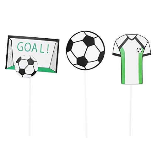 YeahiBaby Fußball Kuchen Toppers | Cupcake Dekorationen - Packung mit 30, Geburtstag Fußball Party Supplies