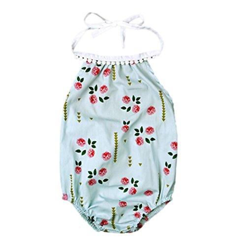 Bekleidung Longra Säugling neugeborenes Mädchen Body Blumen Strampler Overall Outfits Trägerkleid Kleidung(0 -18 Monate) (70CM 0-3Monate, Green)