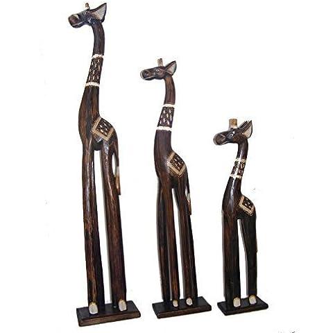 Intagliato A Mano Legno Naturale Famiglia di Verticale Giraffe - 60, 80 & 100 cm Alto - Commercio Equo Solidale