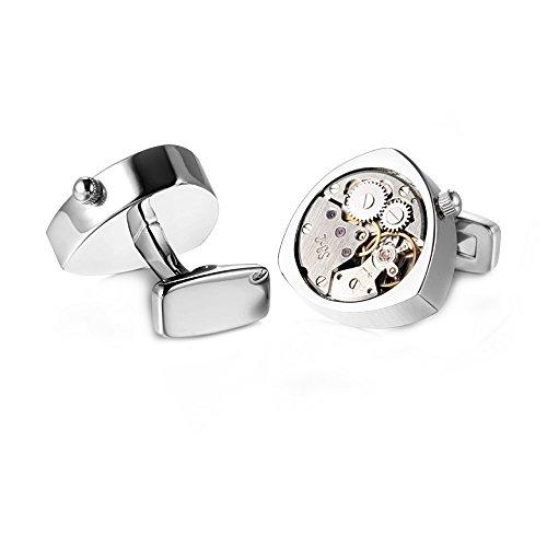 Honey Bear 1 Paar Herren Manschettenknöpfe Cufflinks Steampunk Uhrwerk Bewegung beweglich Edelstahl für Geschäftshochzeitsgeschenk mit Kasten,Dreieck (Silber)