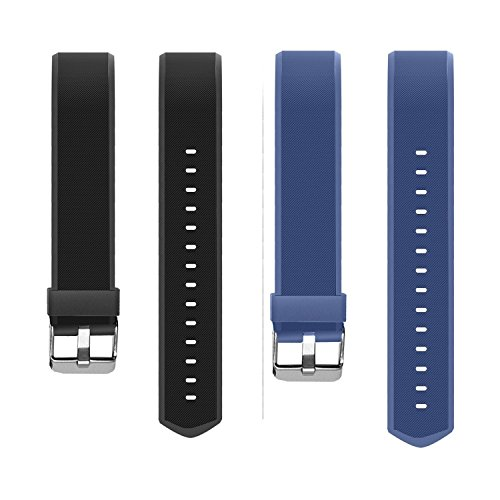 Ersatzband, Showyooo Soft Silikon Ersatz-Armband Uhrenarmbänder mit Metallschnalle Verschluss Für Fitnesstracker ID115PLUS HR Smart Watch –Schwarz, Blau