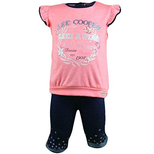 anja-wendt Baby MädchenSet 2tlg kurze Leggins Shirt mit Volants-Ärmeln orange grau O10 (74, orange-blau)