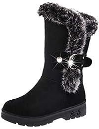 71ce3b08fa0d Ansenesna Stiefeletten Damen Schwarz Gefüttert Winter Warm Schuhe Frauen  Blockabsatz Velourleder Stiefel Vintage…