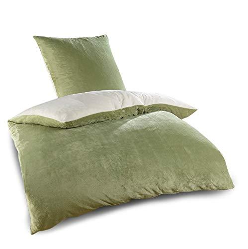 WOMETO Plüsch Nicky Teddy Bettwäsche grün beige 135x200 - Cashmere Touch Wendeoptik flauschig