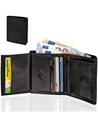 33c472eb92b7d Smart Planet hochwertiges kleines Portemonnaie kompakt - Herren Geldbörse  Echt Leder klein - Hochformat Leder…
