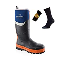 DQ Services Buckler Buckbootz BBZ6000BL Blue Wellington Neoprene Rubber Safety Wellies for Men with 3 Pack Socks | UK Sizes 5-13
