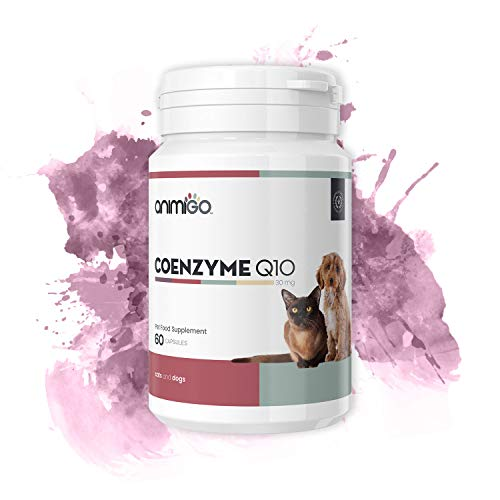 Animigo CoEnzym Q10 für Hunde und Katzen | Ergänzung für das Immunsystem | Nahrungsergänzung Hund | Unterstützt Verschiedene Körperfunktionen | 60 Kapseln