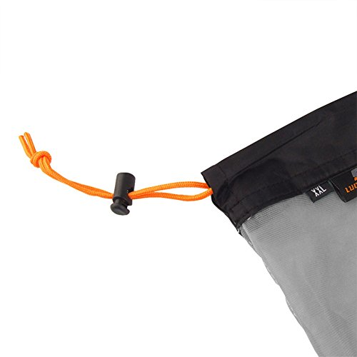 Sacchetto di maglia del Drawstring del sacchetto di immagazzinaggio della maglia del nylon della maglia per l'escursione di campeggio(L-Verde) Nero