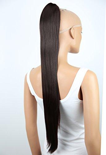 PRETTYSHOP Haarteil Zopf Pferdeschwanz glatt Haarverlängerung hitzebeständig wie Echthaar 70cm schokolade braun # 4 H75