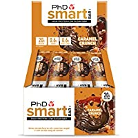 PhD Smart Bar-High Protein Low Carb Bar, Dark Choc Caramel Crunch, 64g, Pack of 12