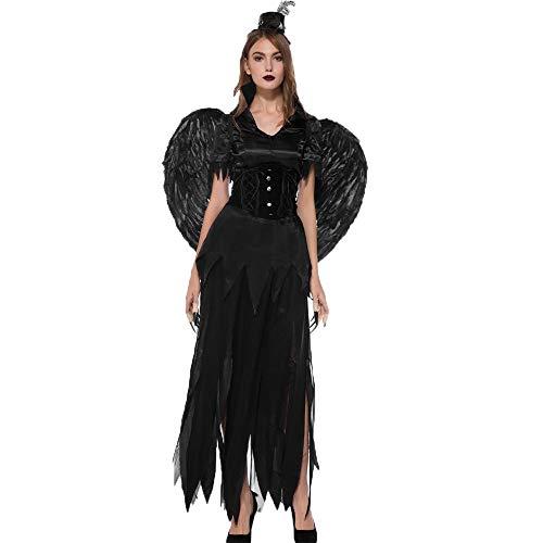 Magier Kostüm Männlich - Dicomi Frauen Halloween Magie Hexe Schwarz Engel Kleid Party Kostüm Cosplay Langes Kleid Schwarz Taufkleid Kostüm M