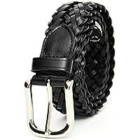TINERS Cinturón Tejido De Cuero Genuino para Hombres Y Mujeres Tela De Estiramiento Salvaje Salvaje Tejido Elástico Pin Hebilla De Cinturón,110Cm