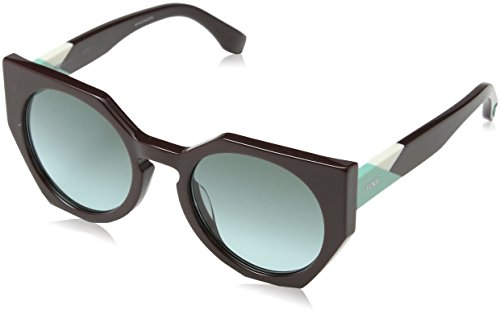 Fendi ff 0151/s eq pjq, occhiali da sole donna, rosso (burgundy/green aqua), 51