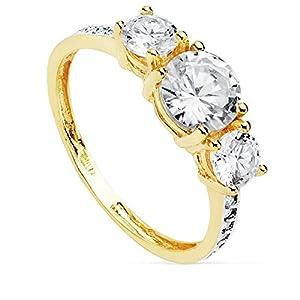 18 Karat Gold Ring Zirkonia Steinen Tresillo Modell [AC0188]