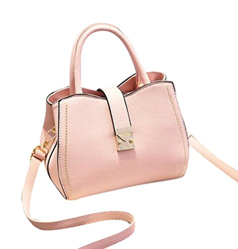 Baymate Frauen PU Leder Schultertaschen Tasche Handtasche Groß Kapazität Pink