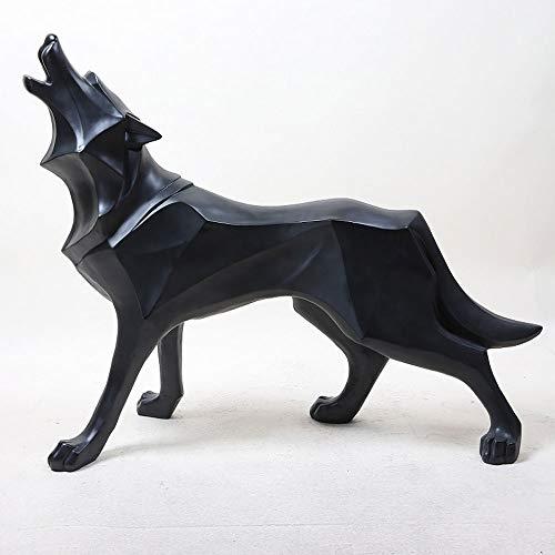 TIB Heyne Harz Abstract Totem Wolf Skulptur Statue Crafts Family Desk Dekoration Geometric Resin Wild Animal Statue Craraft,Black