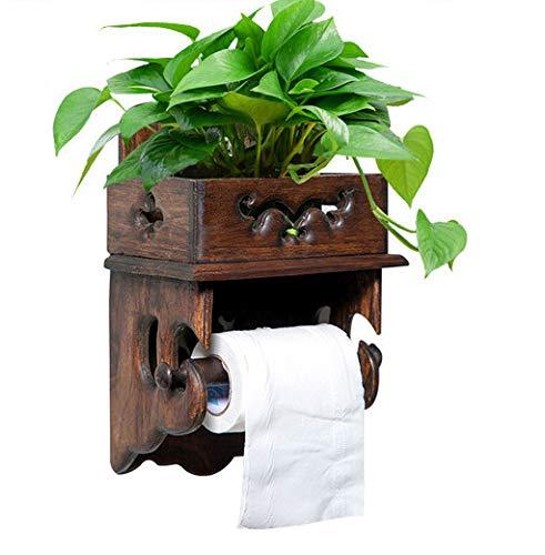 Joeesun Papel de madera Vintage Toallero Estante Papel higiénico Estante Papel higiénico Portarrollos de baño Portarrollos de papel higiénico Sin perforaciones