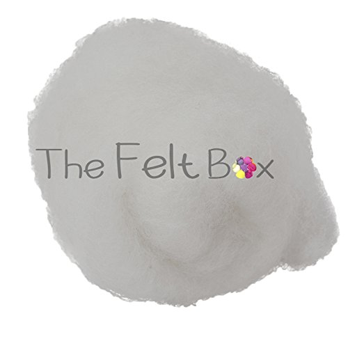 Carded Wool For Felting, Needle Felting Wool, Wool Batt, Craft Wool, Single Shade, 100 grams 3.5 Oz (Snow white (100)) Batt-box