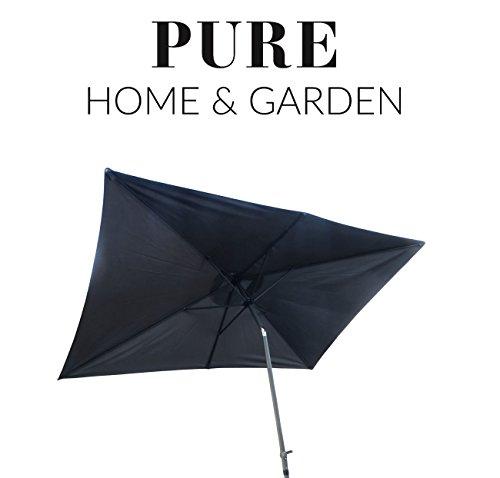 Rechteckiger Sonnenschirm (Pure Home & Garden Kurbelschirm 300x200 anthrazit, mit UV-Schutz 40 Plus, Knicker und abnehmbarem Bezug)