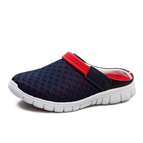 FOBEY Men-Women Slip-On Breathable Mesh Shoes Couples Sport Sandals Flip Flop (UK10.5, Red)