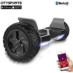 """CITYSPORTS Hoverboard Todo Terreno de 8.5"""", Hoverboard Patinete Eléctrico Hummer SUV, Bluetooth y App, 700W"""