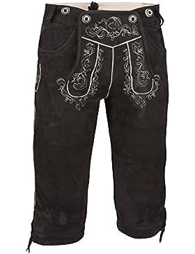 ALMBOCK Trachtenlederhose Wildbock Herren | Knielange Lederhose aus feinem Wildleder in schwarz, braun, dunkelbraun...