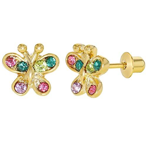 Gold vergoldet 18K Multi farbigen Kristall Schmetterling Kinder Schraubverschluss Ohrringe