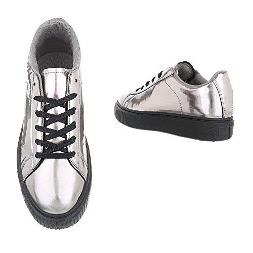 Ital-Design - Pantofole Donna Grau Silber KK-66