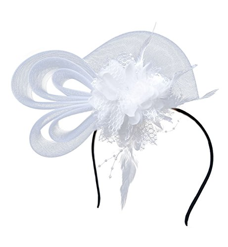 rspange Cocktail Kopfbedeckung Brautkopfschmuck Hairpin Mesh Blume Haarspange (Weiß) (Halloween Mardi Gras Perlen)