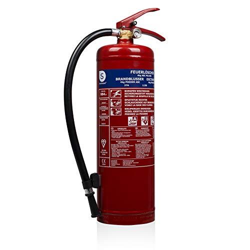 Smartwares BB4 Feuerlöscher 4 Kg, Pulverlöscher mit Manometer, für Brandklassen A, B und C, rot