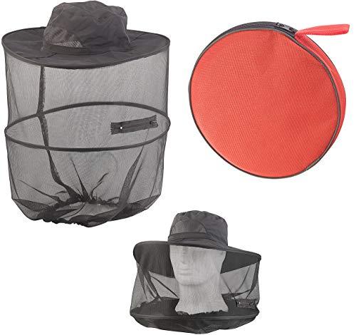 Semptec Urban Survival Technology Mückenhut: Kompakt Faltbarer Hut mit integriertem Moskitonetz, 300 Mesh, schwarz (Imkerhut)