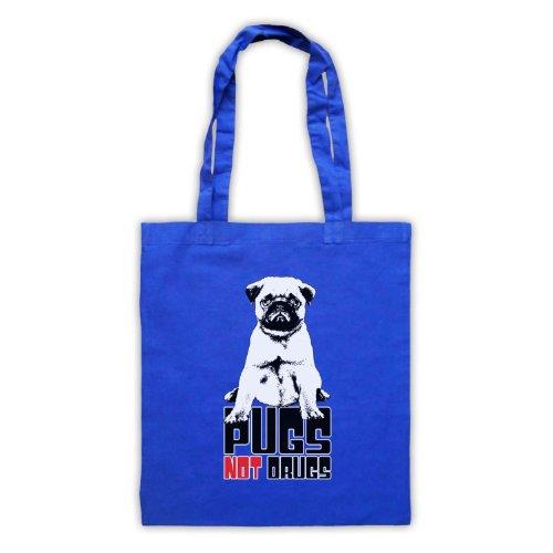 Pugs Not Drugs Slogan Tote Bag Blu