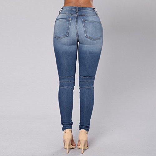 ZKOO Jeans Donna Pantaloni in Denim Low Rise Cotone Pantaloni Scarni Matita Pantaloni Lunghi Pantaloni Leggings Blu scuro