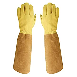 A Pair of Goatskin Leather Beekeeper Glove Extra Long Beekeeping Gloves Stretchy Cuffs Protective Sleeves Beekeeping Supplies - as described, M 6