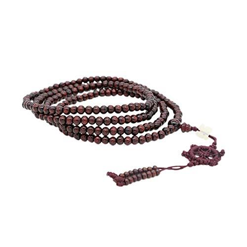 aiyvi Armband mit 216 6mm Schwarzen Perlen Halskette Armreifen Armschmuck Armkettchen Klassisch Buddhistischen Dunkelrot