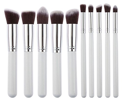 Bigood 10Pcs Pinceaux de Maquillage Professionnels Pinceau Outils pour Visage Make-up