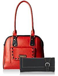Fantosy Women Red And Black Handbag And Wallet FNB-432_017