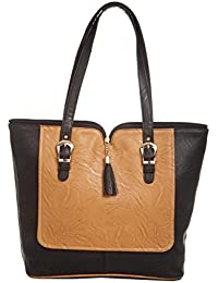 Aliado Faux Leather Solid Black & Brown Zipper Closure Tote Bag For Women