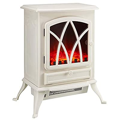 Zennox 2000W Electric Stove Fire Place, Portable Free Standing Heater with Realistic Log Burner Flame Effect & Adjustable Thermostat