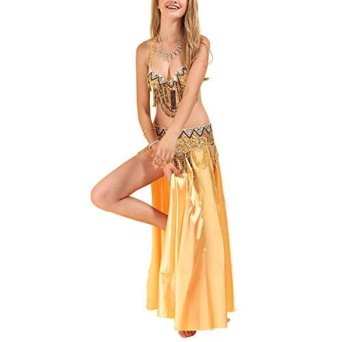uirend Bekleidung Damen Röcke - Bauchtanz Kostüm Set Professionelle Karneval Sexy Phantasie Tanzen Anzug Quasten Pailletten Cosplay Tanz Performance Kleidung