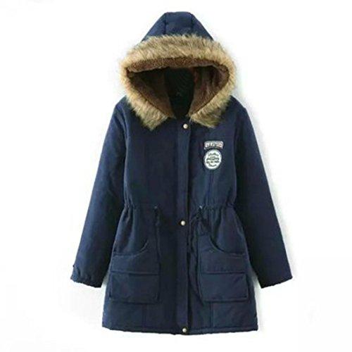 Huihong Winterparka Damen Weinachtsgeschenke Winterjacke Fellkapuze Jacken Mit Kapuze Damen Parka Damen (XL, Marine)