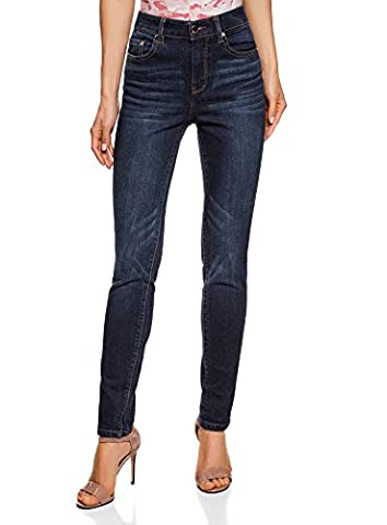 oodji Ultra Femme Jean Slim à Taille Haute, Bleu, 26W / 30L (FR 36 / XS)