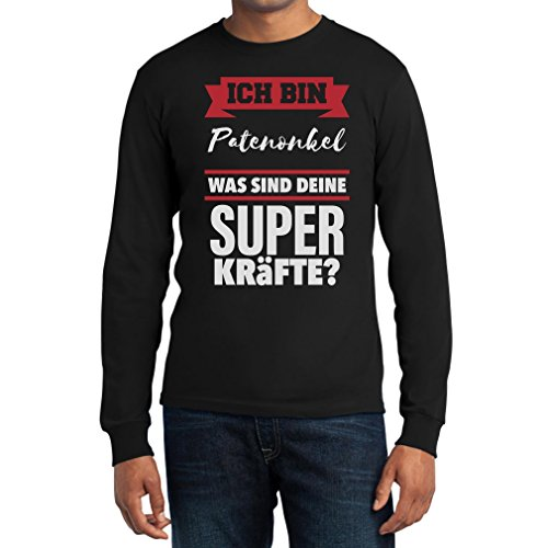 Geschenke für Patenonkel - Patenonkel Superkräfte Langarm T-Shirt Schwarz