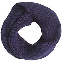 Bufandas Niños Niñas, Tongshi Otoño invierno bufanda de punto O anillo del Soild Keep Warm (Marina de guerra)