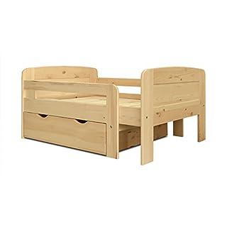 Kinderbett Ausziehbett Bett m. Schubkasten & Lattenrost Kiefer - 391