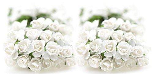 FiveSeasonStuff® 144 Stück Papier Rose Blumen künstliche Blumen, perfekt für Hochzeit Gunst Boxen, Party, Haus & Garten Dekor, Kunsthandwerk, DIY (Weiß) (Weiße Rose Künstliche)