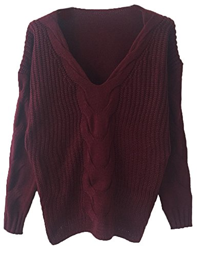 Junshan Pull Femme Chandail à Manches Longues Casual Col Rond Pullover Sweater Jumper Tops Rouge