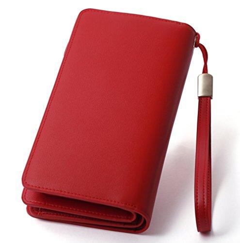 BOSTANTEN Portefeuille Cuir Longue Femme Porte-Monnaie Compagnon Pochette Zippé Fille Rouge